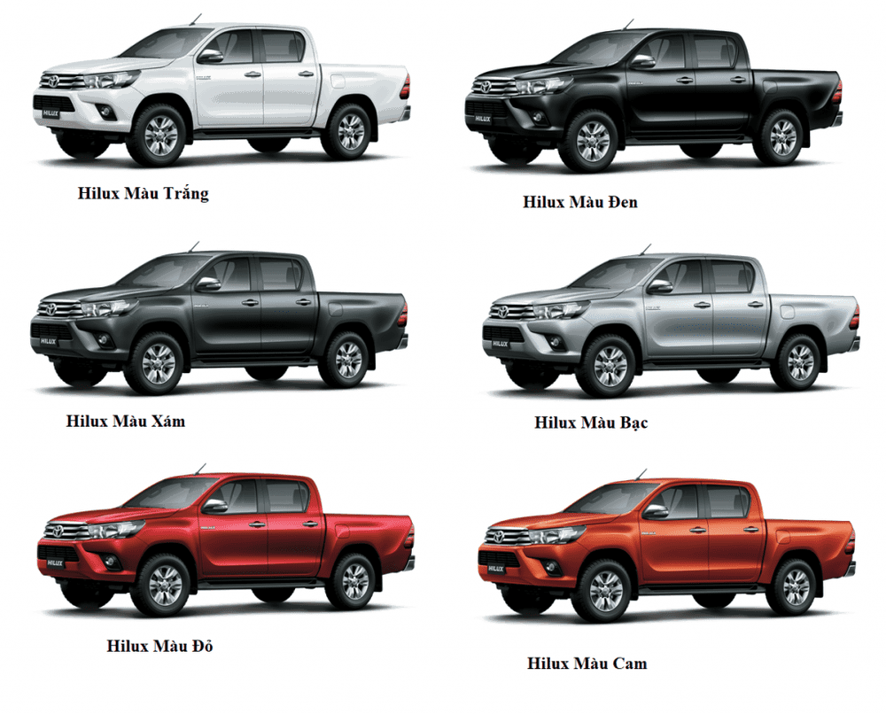 Bảng màu Toyota Hilux 2019